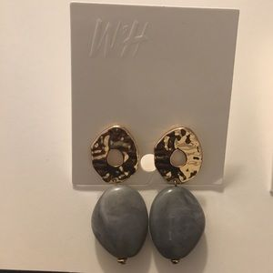 H & M Grey and gold  earrings NWT